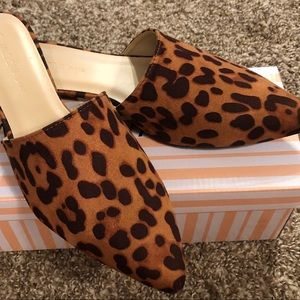 Wild Diva Leopard Animal Print Suede Mules Shoes